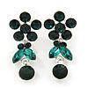 Delicate Emerald Green Crystal Flower & Butterfly Drop Earrings In Rhodium Plating - 35mm L