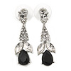 Clear/ Black CZ, Crystal Drop Sensation Earrings In Rhodium Plating - 37mm L