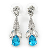 Clear/ Teal Blue CZ, Crystal Drop Sensation Earrings In Rhodium Plating - 37mm L
