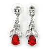 Clear/ Red CZ, Crystal Drop Sensation Earrings In Rhodium Plating - 37mm L
