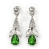 Clear/ Green CZ, Crystal Drop Sensation Earrings In Rhodium Plating - 37mm L