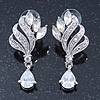 Bridal/ Wedding/ Prom Clear Cz Leaf Drop Earrings In Rhodium Plating - 45mm L