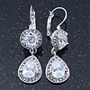 Bridal/ Wedding/ Prom Clear CZ Drop Earrings With Leverback Closure In Rhodium Plating - 45mm L