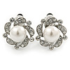 Classic Diamante Simulated Pearl Clip On Earrings In Silver Plating - 20mm Diameter