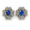 Clear/ Sapphire Blue CZ Floral Stud Earrings In Rhodium Plating - 20mm L