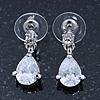 Bridal/ Wedding/ Prom Clear CZ Teardrop Earrings In Rhodium Plating - 20mm L