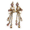 Antique Gold Bead Chain Earrings - 70mm L