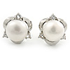 8mm White Round Cultured Freshwater Pearl Stud Earrings In Silver Tone