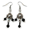 Victorian Style Black, Hematite Bead Drop Earrings In Black Tone - 50mm L
