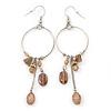 Silver Tone Beige Glass Bead Charm Hoop Earrings - 95mm L