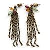 Vintage Inspired Multi Chain Drop Earrings In Bronze Tone - 60mm L