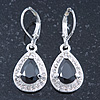 Black/ Clear CZ Drop Earrings With Leverback Closure In Rhodium Plating - 33mm L