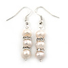 7mm Bridal/ Prom Delicate White Freshwater Pearl With Crystal Ring Drop Earrings In Silver Tone - 43mm L