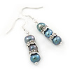 7mm Delicate Grey Freshwater Pearl With Crystal Ring Drop Earrings 925 Sterling Silver - 35mm L