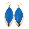 Royal Blue Enamel Leaf Drop Earrings In Gold Tone - 70mm L