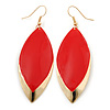 Red Enamel Leaf Drop Earrings In Gold Tone - 70mm L