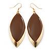 Brown Enamel Leaf Drop Earrings In Gold Tone - 70mm L