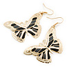 Lightweight Black/ Grey/ White Enamel Butterfly Drop Earrings In Gold Tone - 60mm L