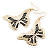 Lightweight Black/ Grey/ White Enamel Butterfly Drop Earrings In Gold Tone - 60mm L