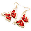 Lightweight Red Enamel Butterfly Drop Earrings In Gold Tone - 60mm L