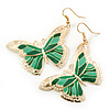 Lightweight Green Enamel Butterfly Drop Earrings In Gold Tone - 60mm L