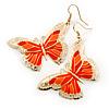 Lightweight Orange Enamel Butterfly Drop Earrings In Gold Tone - 60mm L