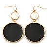 White/ Black Enamel Double Disk Drop Earrings In Gold Tone - 55mm L