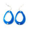 Blue Enamel Cut Out Oval Drop Earrings In Silver Tone - 40mm L
