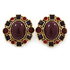 Vintage Inspired Plum/ Burgundy/ Red Crystal, Oval Clip On Earrings In Antique Gold Tone - 35mm L