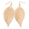 Gold Plated Filigree Leaf Drop Earrings - 85mm L