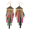 Long Black Crystal Multicoloured Chain Dangle Earrings In Gold Tone - 10cm L