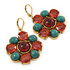 Turquoise, Pink Glass Stone Floral Drop Earrings With Leverback Closure In Gold Tone - 50mm L
