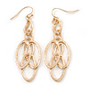 Gold Tone, Textured Oval Link Contemporary Drop Earrings - 65mm L