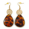 Long Animal Print Resin Teardrop Earrings In Gold Tone - 90mm L