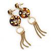 Long Studded Hoop, Chain Tassel Drop Earring In Gold Tone - 10cm L