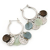 Silver Tone Medium Hoop Earrings With Coin Charms - 40mm L