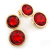 Double Red Glass Stone Stud Earring In Gold Tone - 27mm L