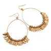Gold Tone Hoop Earrings With Multi Leaf Charms - 75mm L