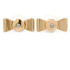 Gold Plated Crystal Bow Stud Earrings - 20mm Across