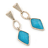Gold tone Textured Geometric Drop Earrings With Light Blue Faceted Glass Stone - 65mm L