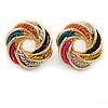 Multicoloured Chain Knot Stud Earrings In Gold Tone - 20mm Across