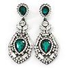 Statement Clear/ Emerald Green Austrian Crystal Drop Earrings In Gun Metal - 65mm L