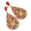 Oversized Multicoloured Acrylic Bead Teardrop Earrings In Gold Tone - 90mm L