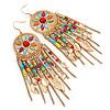 Multicoloured Bead, Chain Dangle Chandelier Earrings In Gold Plating - 13cm L