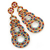 Multicoloured Acrylic Bead, Crystal Graduated Circle Chandelier Earrings - 10cm L