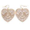 White Lacy Heart Drop Earrings In Gold Tone - 50mm L