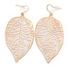 White Enamel Etched Leaf Drop Earrings In Gold Tone - 75mm L