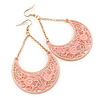 Pink Lacy Crescent Chandelier Earrings In Gold Tone - 85mm L