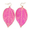 Deep Pink Enamel Etched Leaf Drop Earrings In Gold Tone - 75mm L