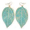 Light Teal Enamel Etched Leaf Drop Earrings In Gold Tone - 75mm L
